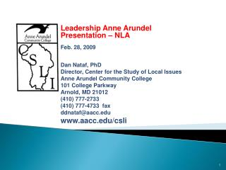 Public Opinion and Issues in  Anne Arundel County:  Leadership Anne Arundel Presentation – NLA