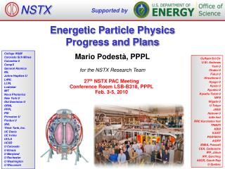 Energetic Particle Physics Progress and Plans