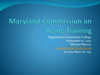 Maryland Commission on Aging Training