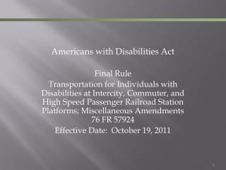 Americans with Disabilities Act Final Rule