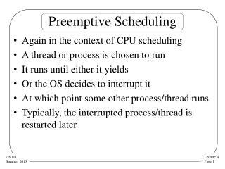 Preemptive Scheduling