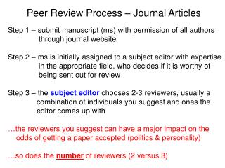 Peer Review Process – Journal Articles