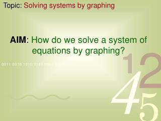 AIM :  How do we solve a system of equations by graphing?
