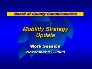 Mobility Strategy  Update Work Session November 17, 2009
