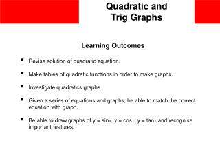 Quadratic and  Trig Graphs