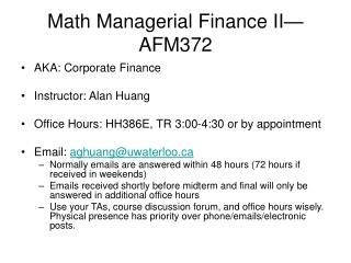 Math Managerial Finance II—AFM372