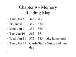 Chapter 9 - Memory Reading Map