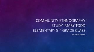 Community ethnography study: Mary Todd elementary 5 th  grade class