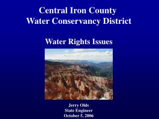 Central Iron County  Water Conservancy District Water Rights Issues