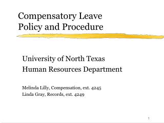 Compensatory Leave Policy and Procedure