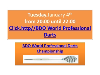 BDO World Professional Darts Championship Live Stream 2011
