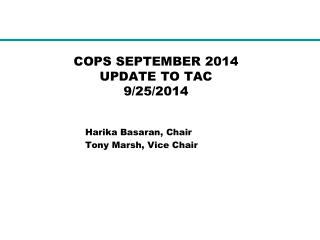 COPS SEPTEMBER 2014  UPDATE TO TAC 9/25/2014