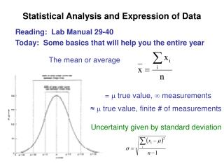 Statistical Analysis and Expression of Data