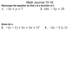 Math Journal  10-16
