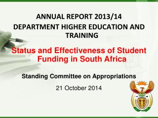 ANNUAL REPORT 2013/14 DEPARTMENT HIGHER EDUCATION AND TRAINING