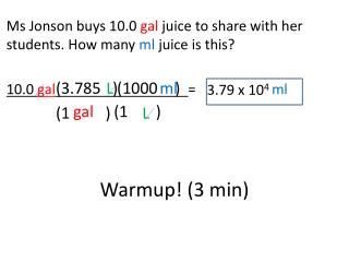 Ms Jonson buys 10.0  gal  juice to share with her students. How many  ml  juice is this?