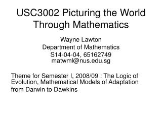 USC3002 Picturing the World Through Mathematics