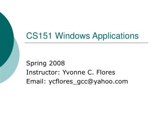 CS151 Windows Applications