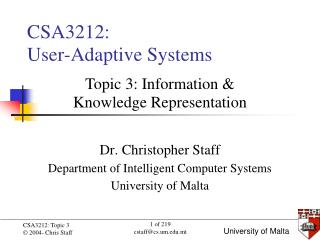 CSA3212:  User-Adaptive Systems