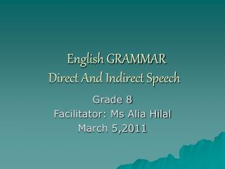 English GRAMMAR  Direct And Indirect Speech
