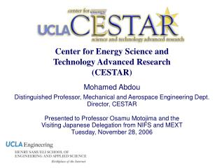 Center for Energy Science and  Technology Advanced Research CESTAR