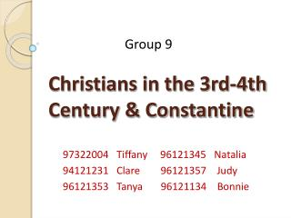 Christians in the 3rd-4th Century & Constantine