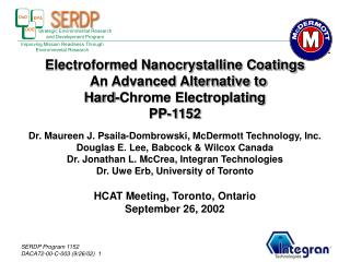 Electroformed Nanocrystalline Coatings   An Advanced Alternative to  Hard-Chrome Electroplating PP-1152