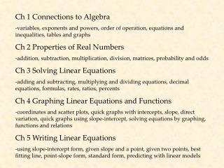 Ch 1 Connections to Algebra