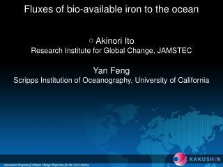 Fluxes of bio-available iron to the ocean ○ Akinori Ito Research Institute for Global Change, JAMSTEC Yan Feng