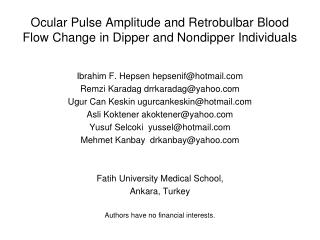 Ocular Pulse Amplitude and Retrobulbar Blood Flow Change in Dipper and Nondipper Individuals