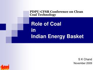 Role of Coal in Indian Energy Basket