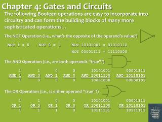 Chapter 4: Gates and Circuits