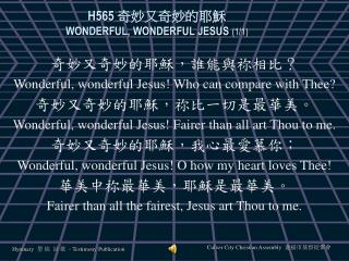 H565  奇妙又奇妙的耶穌 WONDERFUL, WONDERFUL JESUS  (1/1)
