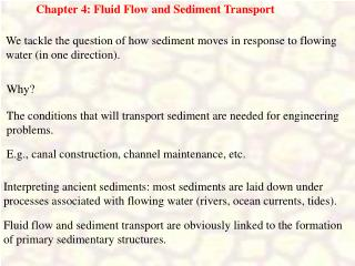 Chapter 4: Fluid Flow and Sediment Transport