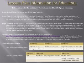Lesson Plan Information for Educators