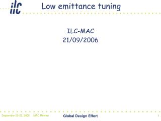 Low emittance tuning