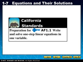 Preparation for          AF1.1  Write and solve one-step linear equations in one variable.