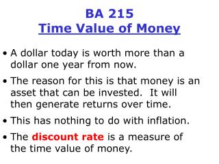 BA 215 Time Value of Money
