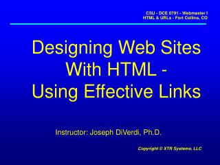 Designing Web Sites With HTML - Using Effective Links