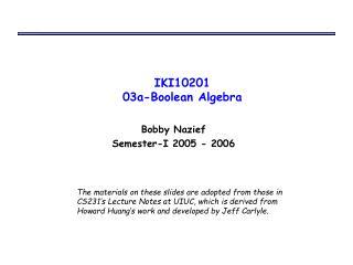 IKI10201 03a-Boolean Algebra