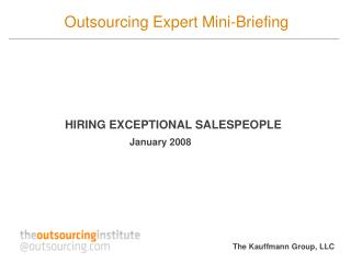 Outsourcing Expert Mini-Briefing
