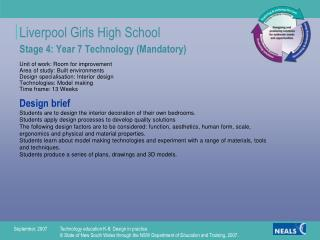 Stage 4: Year 7 Technology (Mandatory) Unit of work: Room for improvement Area of study: Built environments Design speci