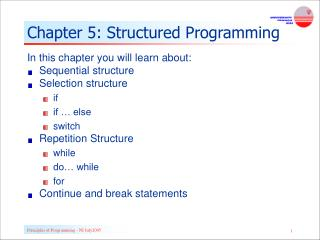 Chapter 5: Structured Programming