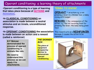 Operant conditioning: a learning theory of attachments