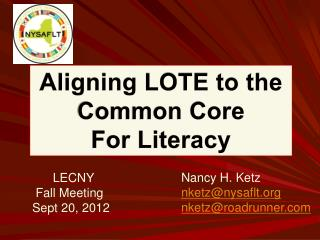 LECNY     Fall Meeting    Sept 20, 2012