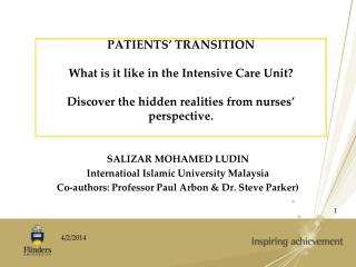 PATIENTS' TRANSITION  What is it like in the Intensive Care Unit? Discover the hidden realities from nurses' perspec