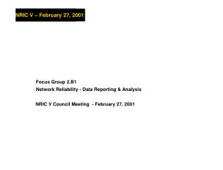 NRIC V Council Meeting  - February 27, 2001