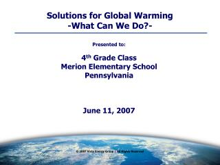 Solutions for Global Warming  -What Can We Do?-