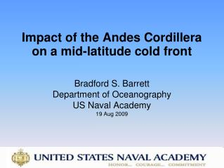 Impact of the Andes Cordillera  on a mid-latitude cold front