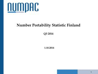 Number Portability Statistic Finland Q3 2014